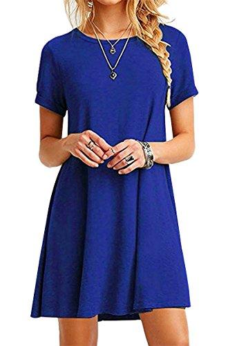 YMING Damen Shirtkleid Casual Tunikakleid Rundhals Longshirt Kurzarm Loose T-Shirtkleid,Blue,XS/DE 32-34 - 1