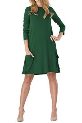YMING Damen Strickkleid Lose Tunika Shirt Kleid Casual Blusenkeid mit Taschen,Grün,XS/DE 36-38 - 1