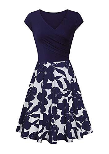 YMING elegantes Cocktailkleid geblümt Blau 1