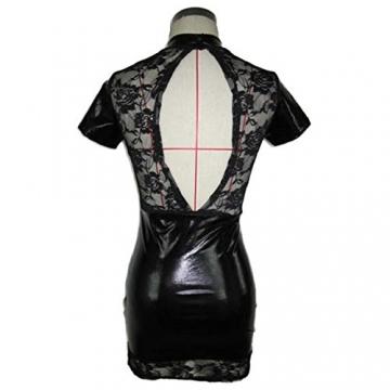 Yogogo Lackleder Spitze Wäsche elastische Größe frei Minikleid Clubwear -
