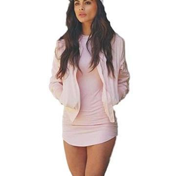Yogogo Womens Bodycon Langarm-Kleid-Dame-Partei-Abend-Minikleid (S, Rosa) - 1