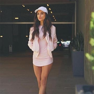 Yogogo Womens Bodycon Langarm-Kleid-Dame-Partei-Abend-Minikleid (S, Rosa) - 2