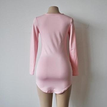 Yogogo Womens Bodycon Langarm-Kleid-Dame-Partei-Abend-Minikleid (S, Rosa) - 5