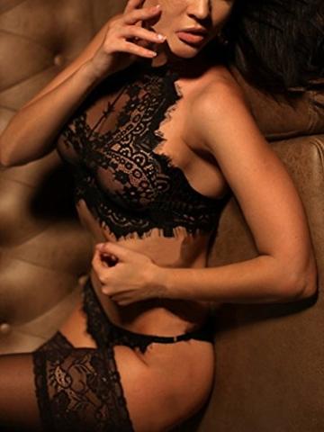 YOINS Damen Sexy Dessous Reizwäsche Spitzelingerie mit String Erotik Unterwäsche Nachtwäsche Set Schwarz EU36-38 - 2