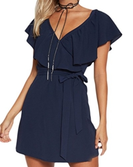 YOINS Damen Sommer Elegant V-Ausschnitt Lotus Blatt Design Kurzen Ärmeln Tageskleider Strandkleid Dunkelblau XL/EU46 - 1
