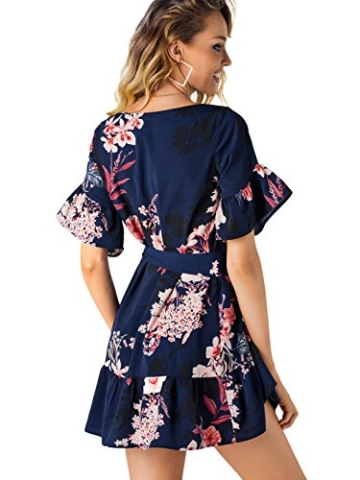YOINS Damen Sommerkleid Minikleid Partykleid Rundhals Blumenmuster A Linie Hohe Taillen Kurzarm Kleid mit Gürtel Strandmode Dunkelblau L/EU44 - 2
