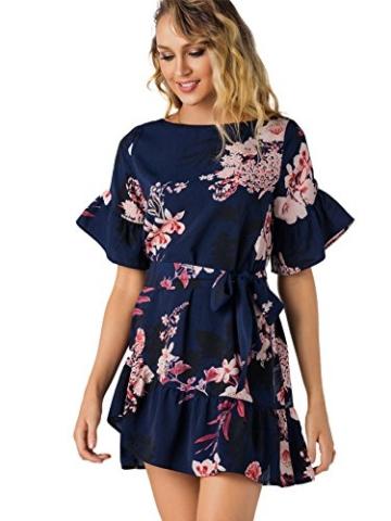 YOINS Damen Sommerkleid Minikleid Partykleid Rundhals Blumenmuster A Linie Hohe Taillen Kurzarm Kleid mit Gürtel Strandmode Dunkelblau L/EU44 - 3