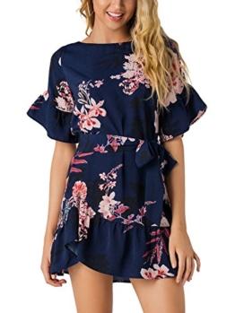YOINS Damen Sommerkleid Minikleid Partykleid Rundhals Blumenmuster A Linie Hohe Taillen Kurzarm Kleid mit Gürtel Strandmode Dunkelblau L/EU44 - 1