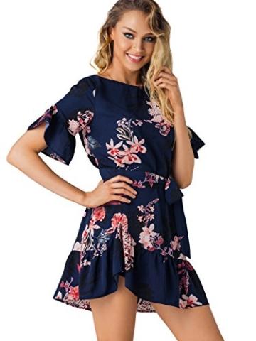 YOINS Damen Sommerkleid Minikleid Partykleid Rundhals Blumenmuster A Linie Hohe Taillen Kurzarm Kleid mit Gürtel Strandmode Dunkelblau L/EU44 - 4