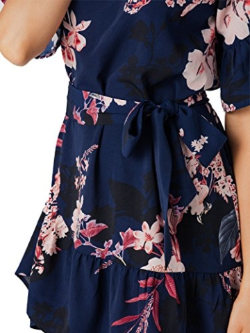 YOINS Damen Sommerkleid Minikleid Partykleid Rundhals Blumenmuster A Linie Hohe Taillen Kurzarm Kleid mit Gürtel Strandmode Dunkelblau L/EU44 - 5