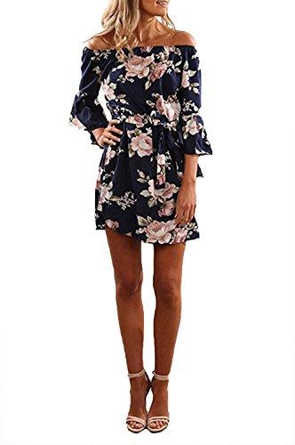 YOINS Damen Sommerkleider Lange Ärmel Schulterfrei Eelegant Sexy Blumenmuster Kurzes Strandkleid Blau XS/EU32-34 - 2