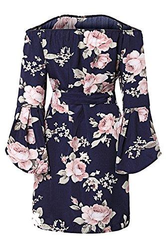 YOINS Damen Sommerkleider Lange Ärmel Schulterfrei Eelegant Sexy Blumenmuster Kurzes Strandkleid Blau XS/EU32-34 - 4