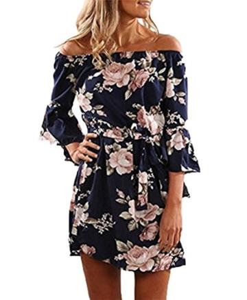 YOINS Damen Sommerkleider Lange Ärmel Schulterfrei Eelegant Sexy Blumenmuster Kurzes Strandkleid Blau XS/EU32-34 - 1