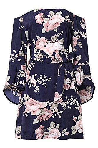 YOINS Damen Sommerkleider Lange Ärmel Schulterfrei Eelegant Sexy Blumenmuster Kurzes Strandkleid Blau XS/EU32-34 - 5