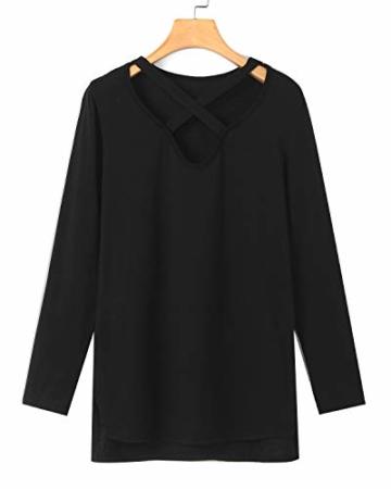 YOINS Sexy Oberteil Damen Langarmshirts Pullover Damen Herbst Sweatshirt T-Shirt V-Ausschnitt Tops - 3