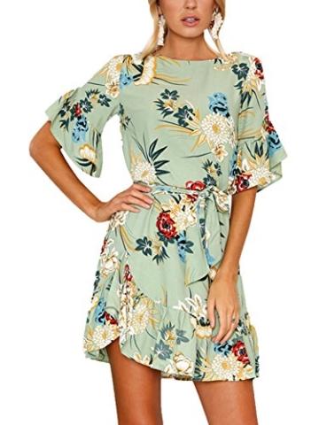 YOINS Sommerkleid Damen Kleider Rundhals Blumenmuster Kleid Elegant Kurz Hohe Taillen Minikleid Partykleid Strandmode Grün XL/EU46 - 2