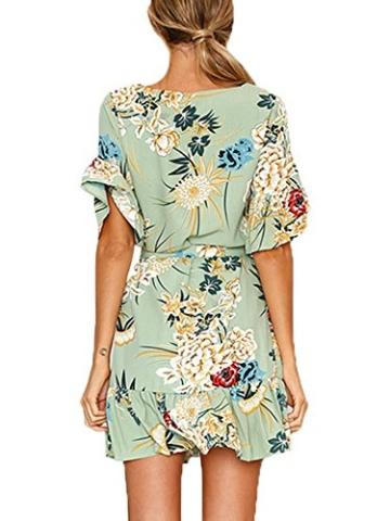 YOINS Sommerkleid Damen Kleider Rundhals Blumenmuster Kleid Elegant Kurz Hohe Taillen Minikleid Partykleid Strandmode Grün XL/EU46 - 3