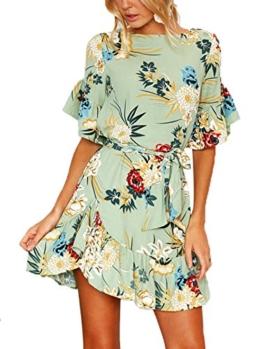 YOINS Sommerkleid Damen Kleider Rundhals Blumenmuster Kleid Elegant Kurz Hohe Taillen Minikleid Partykleid Strandmode Grün XL/EU46 - 1