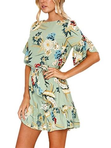 YOINS Sommerkleid Damen Kleider Rundhals Blumenmuster Kleid Elegant Kurz Hohe Taillen Minikleid Partykleid Strandmode Grün XL/EU46 - 4