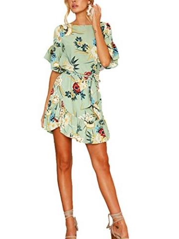YOINS Sommerkleid Damen Kleider Rundhals Blumenmuster Kleid Elegant Kurz Hohe Taillen Minikleid Partykleid Strandmode Grün XL/EU46 - 5