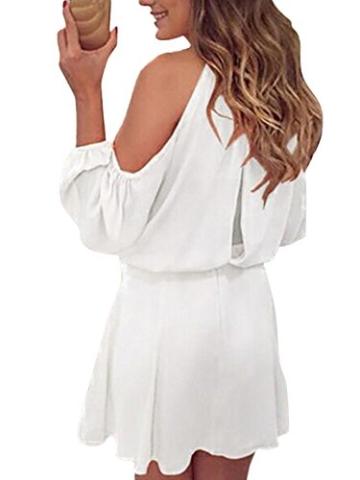 YOINS Sommerkleid Damen Kurz Schulterfrei Kleid Elegante Kleider für Damen Strandmode Langarm Neckholder A Linie Weiß-1 EU44(Kleiner als Reguläre Größe) - 3