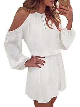 YOINS Sommerkleid Damen Kurz Schulterfrei Kleid Elegante Kleider für Damen Strandmode Langarm Neckholder A Linie Weiß-1 EU44(Kleiner als Reguläre Größe) - 1