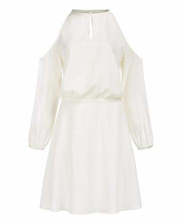 YOINS Sommerkleid Damen Kurz Schulterfrei Kleid Elegante Kleider für Damen Strandmode Langarm Neckholder A Linie Weiß-1 EU44(Kleiner als Reguläre Größe) - 4
