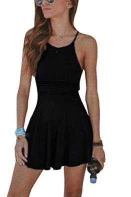 yulinge Frau Sommer Casual Spaghetti Riemen Minikleid Swing Clubwear Black XL - 1