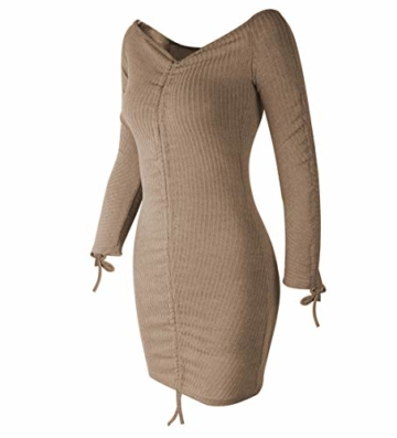 Yutila Damen Sexy und Elegantes Schulterfreies Minikleid Ausgehkleid Partykleid Cocktailkleid Langarm Kleid - 4