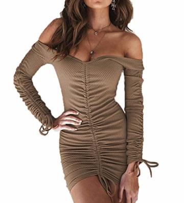 Yutila Damen Sexy und Elegantes Schulterfreies Minikleid Ausgehkleid Partykleid Cocktailkleid Langarm Kleid - 1