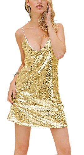 YwoolyJn Damen Einteilige Träger V-Neck Party Paillette Minikleid Gold L - 1