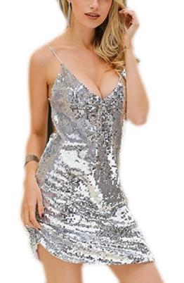 YwoolyJn Damen Einteilige Träger V-Neck Party Paillette Minikleid Silber XL - 1