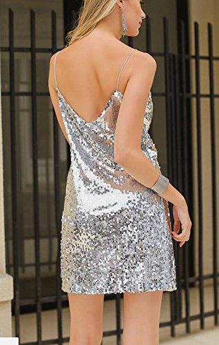 YwoolyJn Damen Einteilige Träger V-Neck Party Paillette Minikleid Silber XL - 2