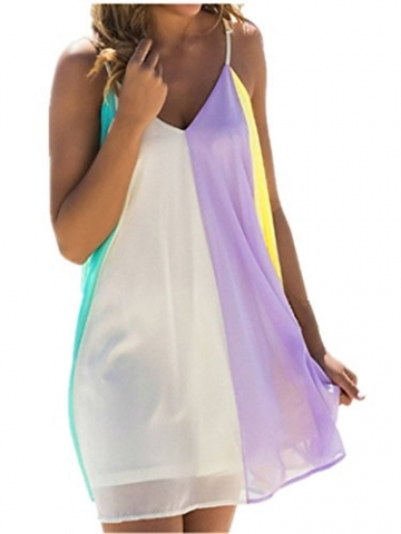 ZANZEA Damen Chiffon V-Ausschnitt Ärmellos Party Strand Club Abend Kurz Mini Kleid Mischungs EU 48/Etikettgröße XL -