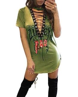 ZANZEA Damen Kurzarm V-Ausschnitt Kleider Bodycon Slim Fit Party Club Minikleid Grün EU 38/Etikettgröße M - 1