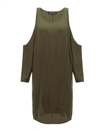ZANZEA Damen Schulterfrei Unregelmäßiges Bat Ärmel Party Sommer Maxi Mini Kleid Armee-Grün EU 42-44/Etikettgröße L -