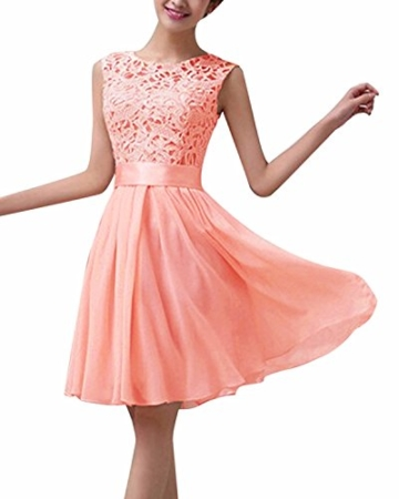ZANZEA Damen Spitze Ärmellos Party Club Kurz Slim Abend Brautkleid Cocktail Ballkleid Rosa EU 38/US 6 - 1