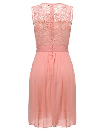 ZANZEA Damen Spitze Ärmellos Party Club Kurz Slim Abend Brautkleid Cocktail Ballkleid Rosa EU 38/US 6 - 3