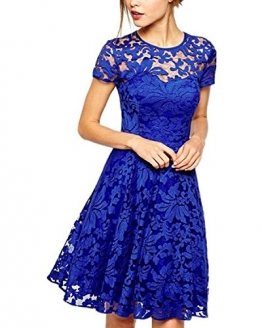 ZANZEA Damen Spitze Lace Party Cocktail Bodycon Club Kurz Abend Minikleider Blau EU 38/US 6 -