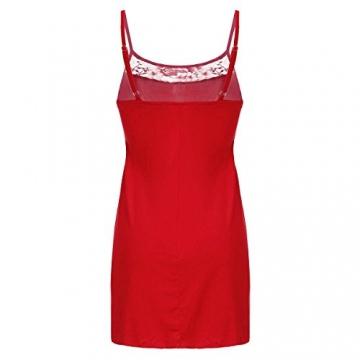 ZANZEA Damen Spitze Lingerie Babydolls Pyjama Dessous Set mit G-String Nachthemd Kleid Rot EU 36/US 4 -