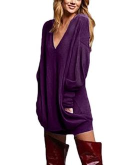 ZANZEA Pulloverkleid Langarm Oversize Sweatshirt Lila 1