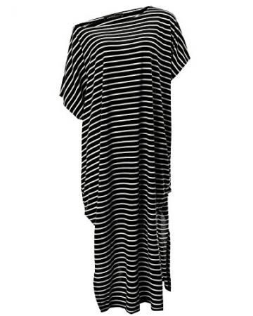ZANZEA Sexy Damen Streifen Schulterfrei Lang Asymmetrisch Abend Sommer Kleider Schwarz EU 42-44/Etikettgröße L -