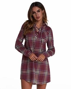 ZANZEA StyleDome Damen Kleid Langarm Kariertes Hemdkleid Oversize Longshirt Dress Minikleid Weinrot993224 EU 46 / US 14 - 1