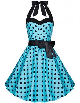 Zarlena Damen Rockabilly Kleid Polka Dots Punkte Tupfen Retro 50er Neckholder Türkis mit schwarzen Dots S 906--S -