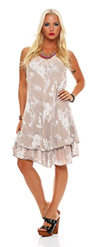 ZARMEXX Sommerkleid knielang doppellagig Baumwolle Kleid Strandkleid V-Ausschnitt floraler All-Over Print (Einheitsgröße: Gr. 38-40, beige) -