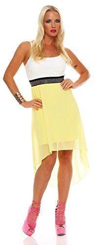 ZARMEXX Vokuhila Kleid Minikleid Cocktailkleid Festliche Robe Partykleid Chiffon (Einheitsgröße: Gr. 36-38, gelb) -