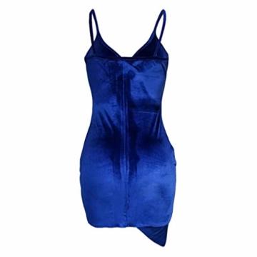 Zarupeng Damen Sling Bodycon Minikleid Clubwear Ärmellos V-Ausschnitt Rückenfreies Samtkleid Unregelmäßiges Saum - 4