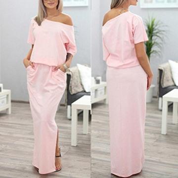 Zarupeng Frauen Lange Maxi Abendkleider, Sommer Kurzarm Kleid mit Tasche Lose Strandkleider Damen Tunikakleid Elegant A-Linie Partykleider (XL, Rosa) - 2
