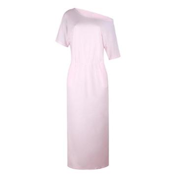 Zarupeng Frauen Lange Maxi Abendkleider, Sommer Kurzarm Kleid mit Tasche Lose Strandkleider Damen Tunikakleid Elegant A-Linie Partykleider (XL, Rosa) - 3