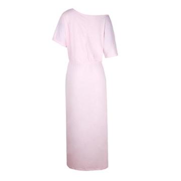 Zarupeng Frauen Lange Maxi Abendkleider, Sommer Kurzarm Kleid mit Tasche Lose Strandkleider Damen Tunikakleid Elegant A-Linie Partykleider (XL, Rosa) - 4